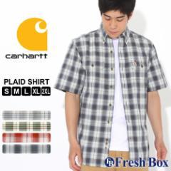カーハート シャツ 半袖 ボタンダウン ポケット チェック柄 シャンブレー メンズ 104175 USAモデル ブランド Carhartt チェックシャツ ア