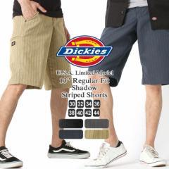 ディッキーズ ハーフパンツ ひざ下 ストライプ ステインリリース加工 防汚 レギュラーフィット WR878 メンズ|ウエスト 30〜44インチ|大