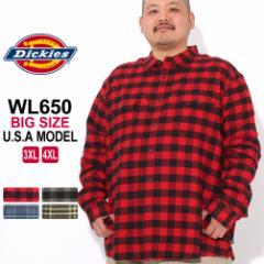 [ビッグサイズ] ディッキーズ シャツ 長袖 チェック柄 WL650 メンズ ネルシャツ|大きいサイズ USAモデル Dickies (clearance)