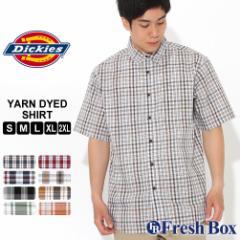 ディッキーズ シャツ 半袖 レギュラーカラー ポケット チェック柄 メンズ 大きいサイズ WS525 USAモデル ブランド Dickies チェックシャ