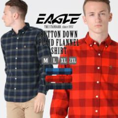 シャツ 長袖 メンズ ボタンダウン チェック柄 フランネル 大きいサイズ 日本規格|ブランド EAGLE THE STANDARD イーグル