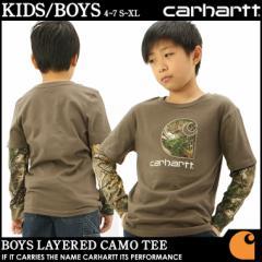 [キッズ] カーハート Tシャツ 長袖 レイヤード USAモデル ボーイズ│ブランド Carhartt|ロンT 長袖Tシャツ ロゴ プリント 重ね着|子供