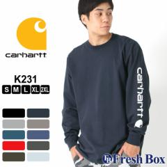 カーハート Tシャツ 長袖 クルーネック ヘビーウェイト 袖ロゴ メンズ 大きいサイズ K231 ブランド ロンT 長袖Tシャツ アメカジ USAモデ