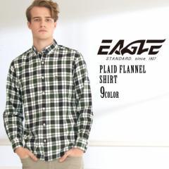 【送料無料】 シャツ 長袖 ボタンダウン ポケット フランネル チェック柄 厚手 メンズ 大きいサイズ 日本規格 ブランド EAGLE STANDARD