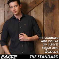 【送料無料】 7分袖 シャツ メンズ カジュアル 七分袖 シャツ ドット柄 ワイシャツ ワイド EAGLE THE STANDARD (カジュアルシャツ 七分袖