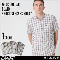 【送料無料】 EAGLE THE STANDARD │ シャツ メンズ 半袖 半袖シャツ メンズ [ワイドカラー 半袖 チェック柄 チェックシャツ メンズ 半袖