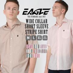 【送料無料】 EAGLE THE STANDARD │ シャツ メンズ 半袖 半袖シャツ メンズ ビジネス [ワイドカラー 半袖 ストライプ ストライプシャツ