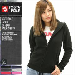 SOUTH POLE サウスポール パーカー レディース ジップアップ スウェット 無地 黒 ブラック 大きいサイズ (southpole-9003-1552)