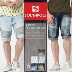 SOUTH POLE サウスポール ハーフパンツ メンズ 大きいサイズ バイカー デニム ハーフパンツ メンズ デニム ショートパンツ