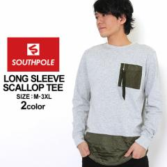 サウスポール ロンT ポケット ロング丈 メンズ|大きいサイズ USAモデル SOUTH POLE|長袖Tシャツ ストリート XL XXL LL 2L 3L (clearanc