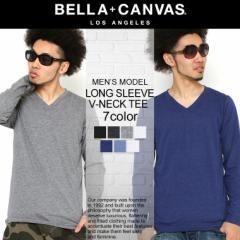【BELLA + CANVAS LOS ANGELES】 ベラキャンバス ロサンゼルス ロンt メンズ 無地 Vネック tシャツ 長袖 メンズ 大きいサイズ 長袖tシャ