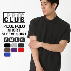 プロクラブ PRO CLUB プロクラブ ポロシャツ メンズ 半袖 無地 大きいサイズ メンズ ポロシャツ 鹿の子 ブラック 黒 ホワイト 白 S M L L