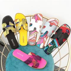 サンダル ぺたんこ フラット レディース 夏 春 オープントゥ 歩きやすい 靴 シューズ (メール便送料無料)(bo-654)【均一】