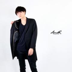 長袖ロングジャケット シャツ メンズ アウター ロング丈 黒 長袖 ブラック モード系 AmoR 艶黒