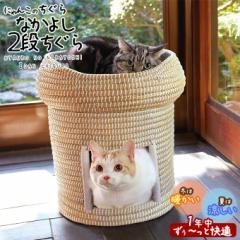 猫用ベッド ドギーマン にゃんこのちぐらシリーズ なかよし2段ちぐら マット付き ■ 自然素材 猫用ハウス ハンドメイド キャティーマン