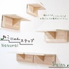 池田プラスチック ねこにゃんステップ ナチュラル 5個セット ■ キャットタワー 天然木製 猫のおもちゃ