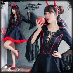 魔女 ハロウィン コスプレ 悪魔 小悪魔 衣装 デビル コスプレ衣装 セクシー コスチューム 仮装 変装 大人 黒 赤 団体