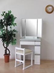 ドレッサー&チェア 3面鏡 幅60cm ホワイト JORNO 60 DRESSER 3 MENKYO WH ise-3317330s1  /NP 後払い/北欧/インテリア/セール/モダン/送