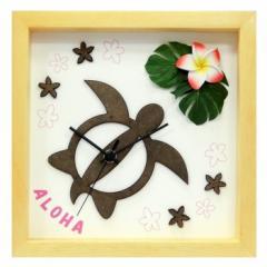 ハワイアン インテリア時計 DECLOCK Hawaiian Clock Honu Flower フレーム ナチュラル プルメリア レッド DC-1807 kar-3776333s1  /NP 後