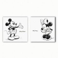 ミッキー ミニー ファブリックパネル 2枚セット アートパネル Disney Mickey Mouse Mサイズ 30cm×30cm lib-3909168s1  /NP 後払い/北欧/