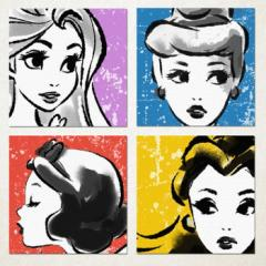 ディズニープリンセスシリーズ 4枚セット アートパネル Disney ディズニープリンセス Mサイズ 30cm×30cm lib-3909242s1  /NP 後払い/北