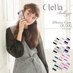 iPhoneケース レディース スマホケース iPhoneX iPhoneXS ボーダー柄  Clelia クレリア 【CL-5109】mlb