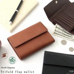 折り財布 折財布 メンズ 財布 三つ折り フラップ ウォレット  大容量 HAWKCOMPANY ホークカンパニー 7226