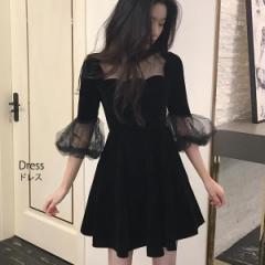 お呼ばれ  ワンピース レディース ドレス ひざ上 ワンピース キャバ ドレス ワンピ ミニ ドレス [即]