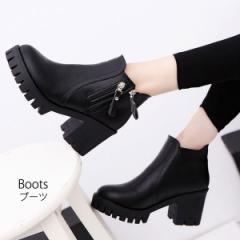 [即]ブーツ ショートブーツ サイドジップ フェイクレザー ジップアップ 太ヒール 黒 旬ブーツ boots アンクルブーツ