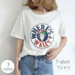 [即] Tシャツ チュニック レディース プールオーバー 半袖  カットソー トップス  ビックシルエット 体型カバー[M便 1/1]