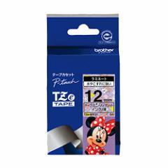 【メール便発送】ブラザー ピータッチテープ ディズニーテープ ミニーバイオレット/黒字  12mm TZE-MV31