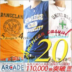アメカジ メンズ 半袖Tシャツ/春夏 Tシャツ メンズ オールドカレッジロゴプリントアメカジTシャツ