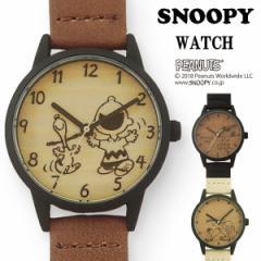 SNOOPY スヌーピー 腕時計 レディース ウッドシンプル ウッド調 木目 フィールドワーク カジュアル シンプル