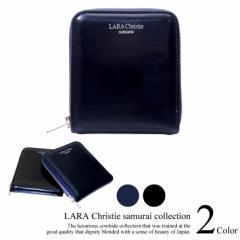 LARA Christie ララクリスティー samurai ラウンド ジップ 二つ折り ウォレット 短財布 本革  送料無料