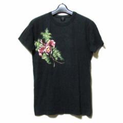 Jean Paul GAULTIER HOMME ジャンポールゴルチエ オム「48」フラワーペイントTシャツ (黒 ゴルチェ 花柄 半袖) 114394