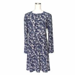 美品 EMMAJAMES エマジェイムス フェミニンドレープワンピース (紺 ドレス テキスタイル 花柄) 114674