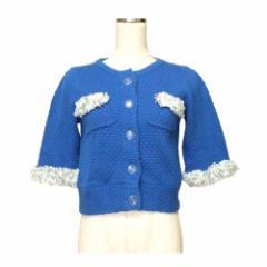 【新品】 2% TOKYO トゥーパーセントトウキョウ フリル装飾ジャケット (タグ付き 未使用 青 カーディガン) 115945