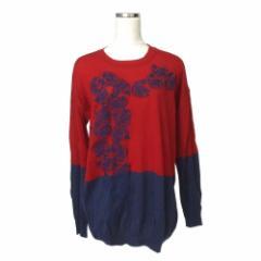 ANDREATURCHI アンドレアトゥルキ イタリア製 ローズ刺繍ニットセーター (赤 紺 花柄 ボタニカル ロング) 115976