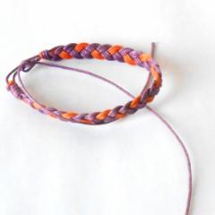 オレンジ&パープル ワックスコード ミサンガ ブレスレット  レディース メンズ アクセサリー 腕輪 p30-sbl254