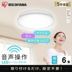 LEDシーリングライト 6.1 音声操作 プレーン 6畳 調光 CL6D-6.1V アイリスオーヤマ 送料無料