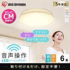 LEDシーリングライト 6.1 音声操作 プレーン 6畳 調色 CL6DL-6.1V アイリスオーヤマ 送料無料