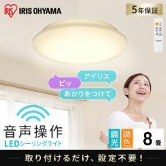 LEDシーリングライト 6.1 音声操作 プレーン 8畳 調色 CL8DL-6.1V アイリスオーヤマ 送料無料
