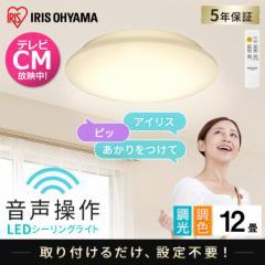 LEDシーリングライト 6.1 音声操作 プレーン 12畳 調色 CL12DL-6.1V アイリスオーヤマ 送料無料