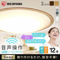 LEDシーリングライト 5.11 音声操作 ウッドフレーム 12畳 調色 ナチュラル CL12DL-5.11WFV-U アイリスオーヤマ 送料無料