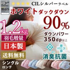 [5%OFFクーポン配布中]羽毛布団 シングル 掛け布団 掛布団 日本製 ホワイト ダック ダウン90% 増量1.2kg シングル かさ高145mm以上 350