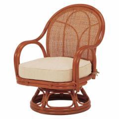▼座椅子 楽 おしゃれ 腰 肘付き 籐 回転座椅子 ナチュラル RZ-342NA 座椅子 回転座椅子 高座椅子