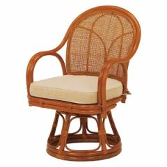 ▼座椅子 楽 おしゃれ 腰 肘付き 籐 回転座椅子 ナチュラル RZ-343NA 座椅子 回転座椅子 高座椅子[代引不可]