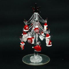 クリスマス 飾り ガラス ツリー 13cm サンタ&スノーマン かわいい