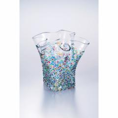 ガラス花瓶 津軽びいどろ 花器 フリル