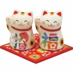 ちぎり和紙 彩招福 招き猫 (ミニ) 置物 縁起物/006−0833